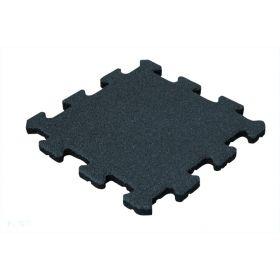 Mattonella in gomma anti trauma  25 mm- 50x50 cm - Sistema a puzzle – Pezzo centrale- Nera
