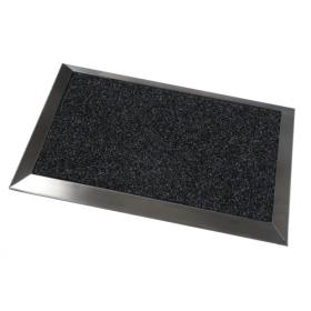 zerbino con motivo a coste e cornice in acciaio inox