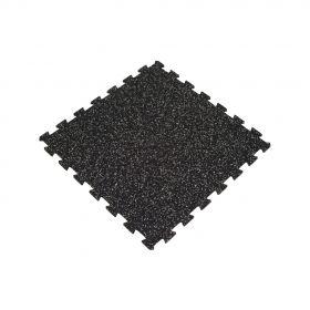 Mattonella in gomma per pavimento sportivo - Puzzle - 100x100cm - 8mm - Nero / Grigio